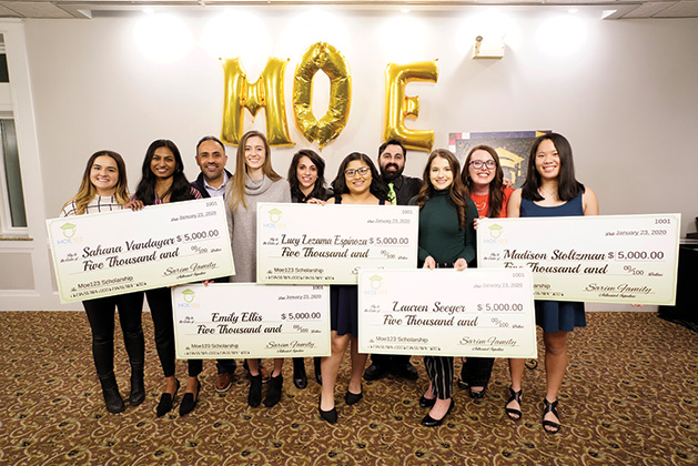 The Moe123 Scholarship Fund Board with its 2020 Moe123 scholars