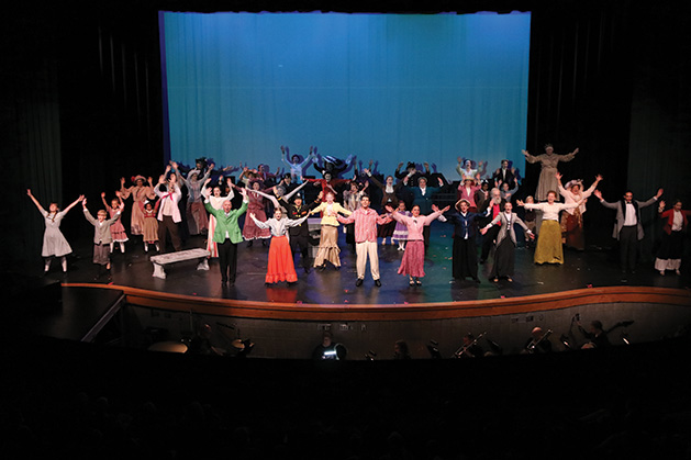 The full cast of Cross Community Players' Mary Poppins onstage