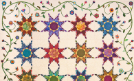 Covered in Color, the featured raffle quilt for the 2019 Maple Grove Quilters Quilt Show