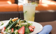 A cucumber pear margarita and a fresh spinach salad on the patio at 3 Squares Restaurant means summer is finally here to stay.