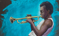 A chalk illustration of Miles Davis by artist Shawn McCann