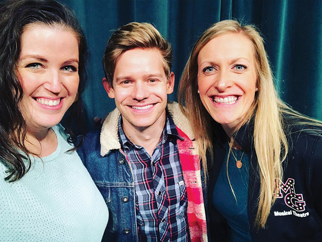 Andrew Keenan-Bolger with MGSH theatre program directors, Nikki Swoboda and Beth Hellsted