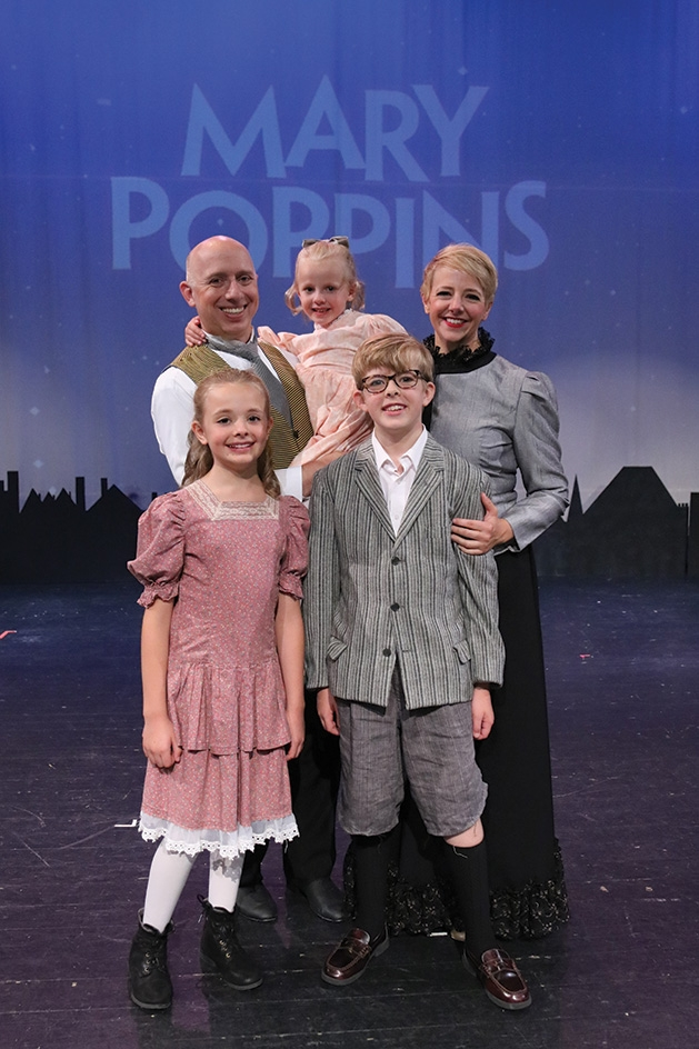 "Alex Reid, Margaret Reid, Warner Reid, Hazel Reid and Harriet Reid onstage at Cross Community Players' ""Mary Poppins"""