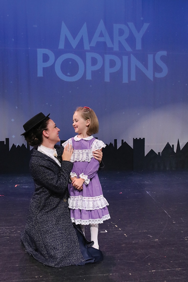 "Mari Hyman and Grace Hyman from Cross Community Players' ""Mary Poppins"" onstage."