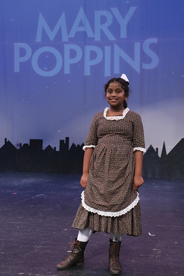 Arabelle Pillai onstage at Cross Community Players' Mary Poppins