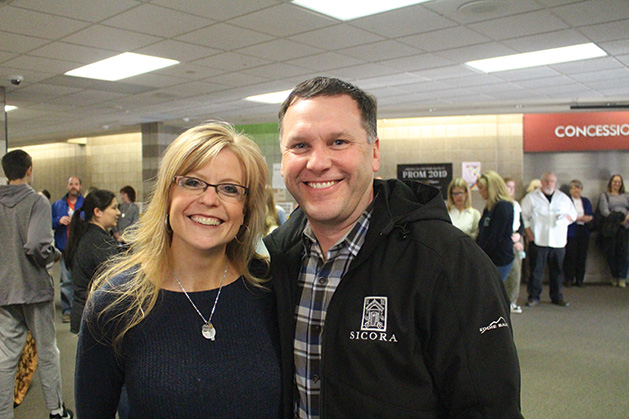 Natalie and Ron Sonnek pose at the Maple Grove Senior High SongBlast fundraiser.