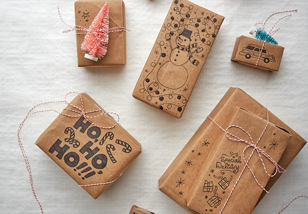Gifts wrapped in eco friendly wrapping paper