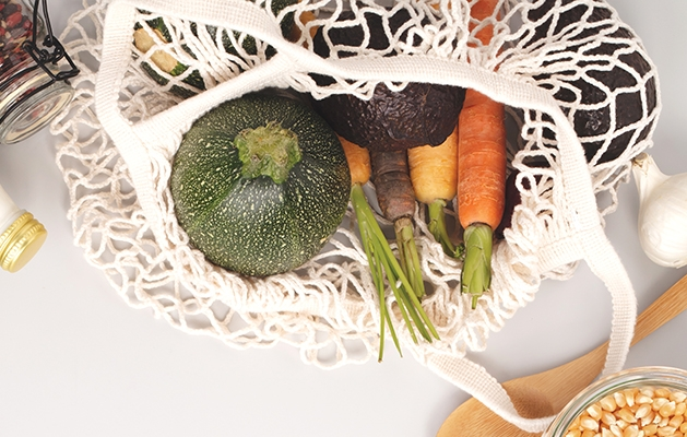 eco-friendly grocery bag of produce