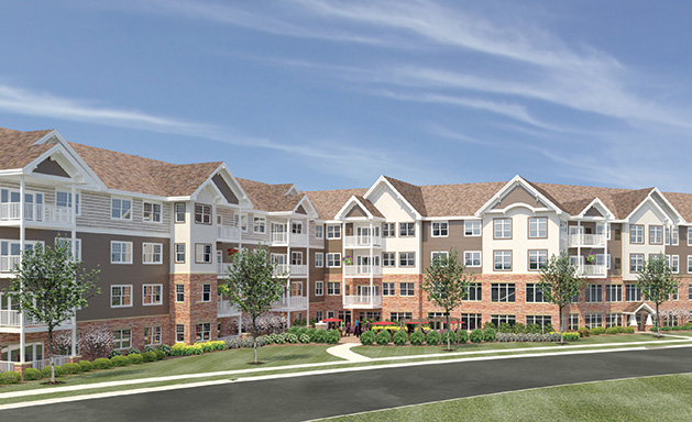 A rendering of Applewood Pointe of Maple Grove at Arbor Lakes, a senior citizen cooperative