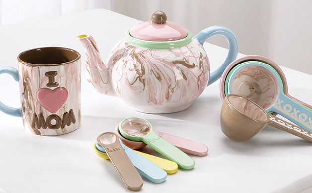 Mother's Day gifts: A hand-painted mug, teapot and measuring spoons from Color Me Mine.