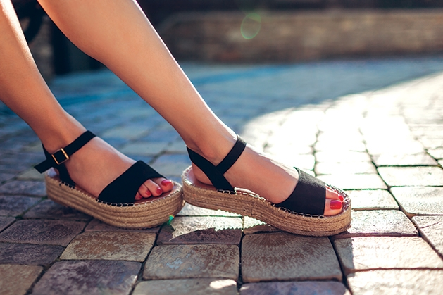 wearing sandals in the summer sun