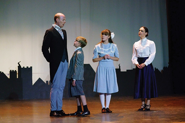 Bryan O'neil, Warner Reid, Kirsten Ericson and Mari Hyman onstage at Cross Community PLayers' Mary Poppins