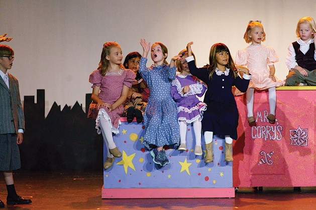 Hazel Reid, Paloma Samadani, Britton Campbell, Grace Hyman, Adella Jonson and Harriet Reid onstage at Cross Community Players' Mary Poppins