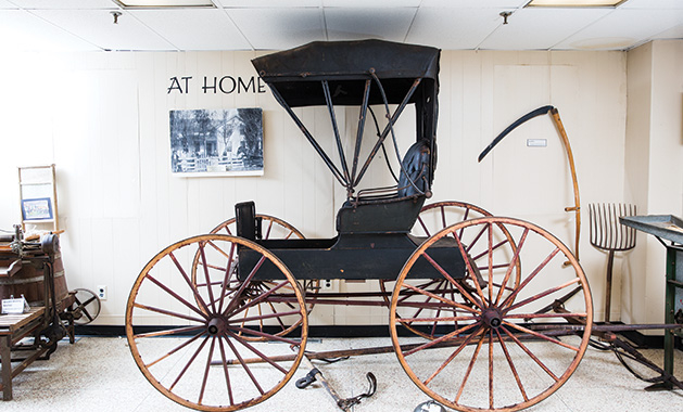 An 1880s buggy on display at the Maple Grove Historical Preservation Society Museum.
