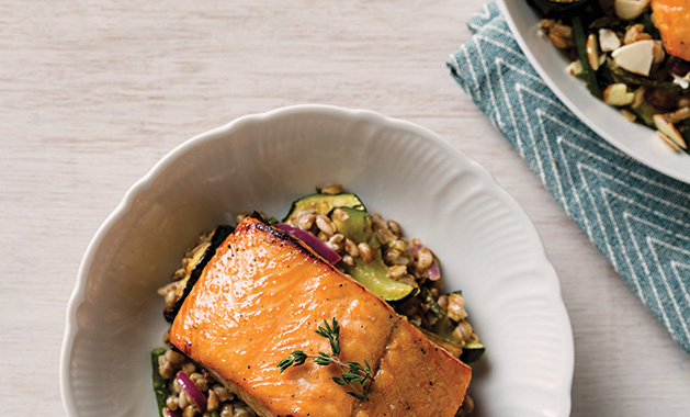 Home cooked recipe for lemon-glazed salmon with farro