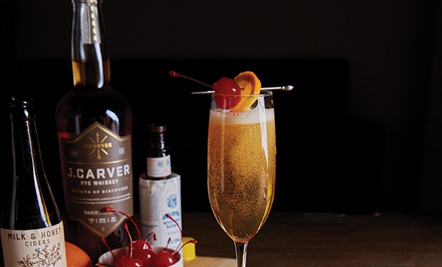 A rye whiskey cocktail featuring J. Carver Distillery spirits.