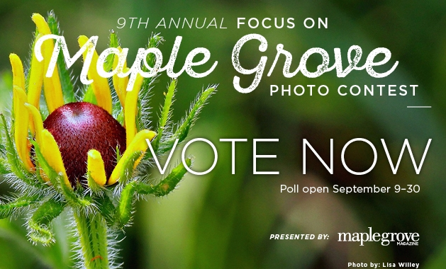 A graphic advertising voting for the 2019 Focus on Maple Grove photo contest.