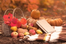 A Thanksgiving book sits among symbols of fall - pumpkins, leaves and apples.
