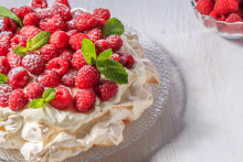 A raspberry fruit pavlova.