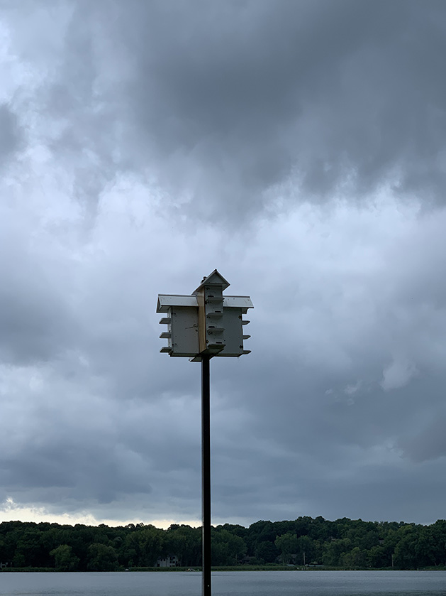 Stormy skies behind a bird house.